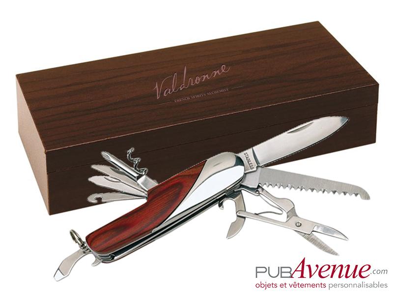 Couteau coffret bois publicitaire