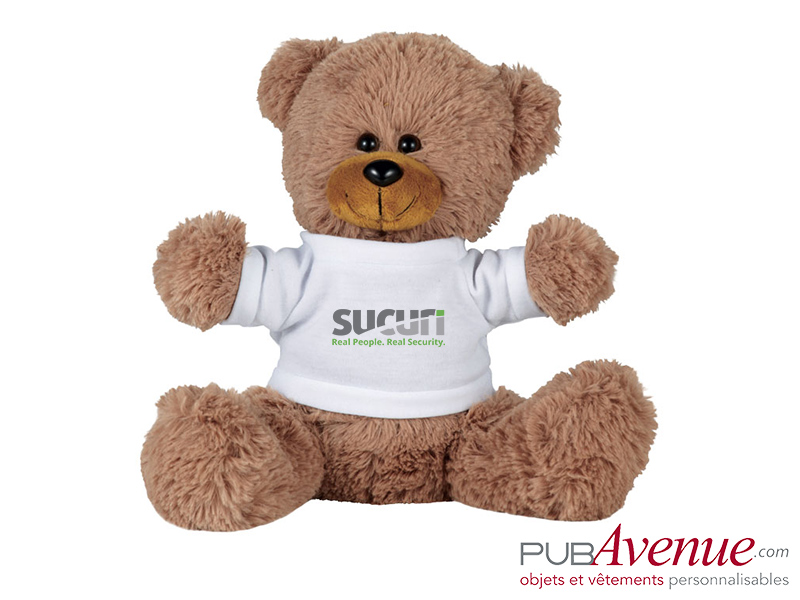 Peluche assise ours publicitaire