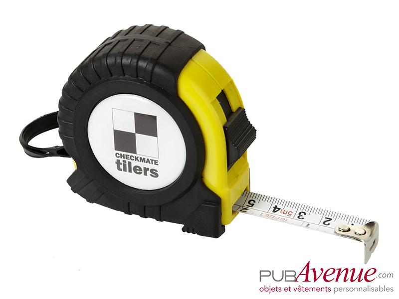 Mètre déroulant jaune 5m personnalisable