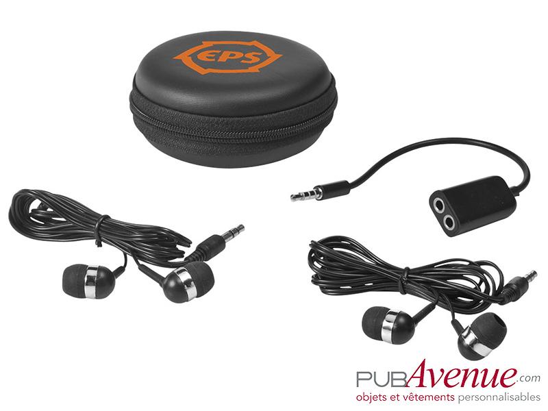 Set écouteurs audio publicitaire répartiteur