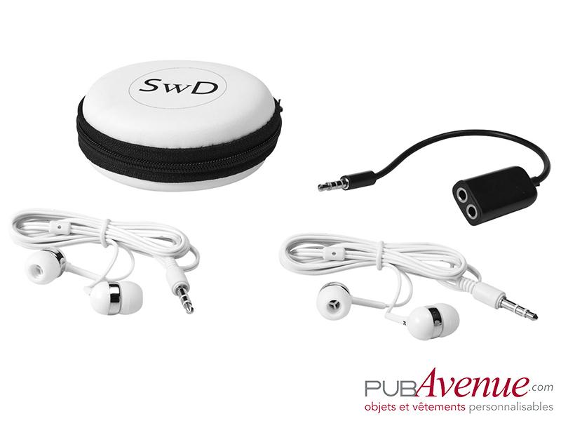 Set écouteurs audio répartiteur publicitaire