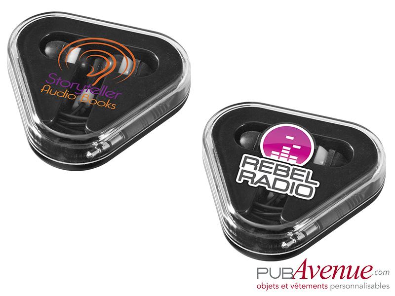Écouteurs audio personnalisés boîte triangle
