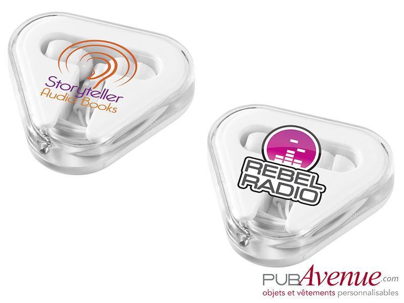 Écouteurs audio publicitaires boîte triangle
