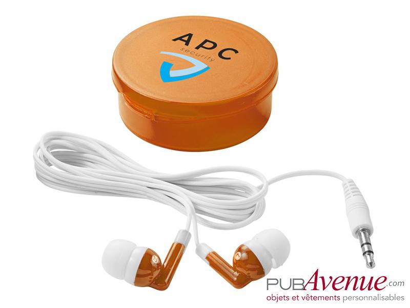 Écouteurs audio publicitaires boîte
