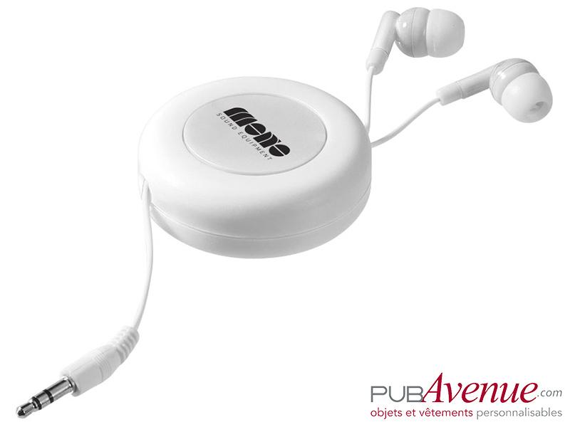 Écouteurs audio rétractables personnalisés