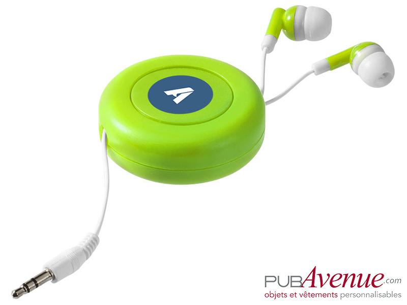 Écouteurs audio rétractables personnalisables