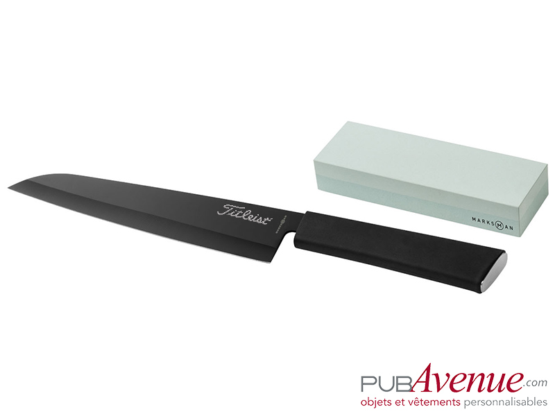 Couteau acier pierre à aiguiser personnalisé