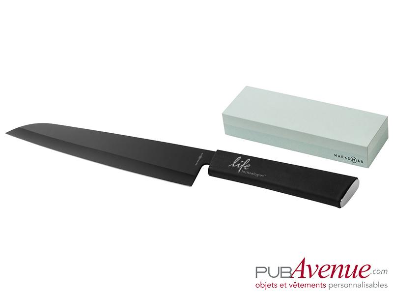 Couteau personnalisé acier pierre à aiguiser