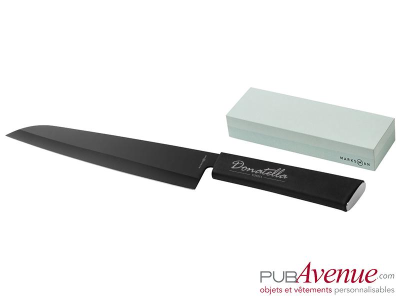 Couteau acier pierre à aiguiser personnalisable