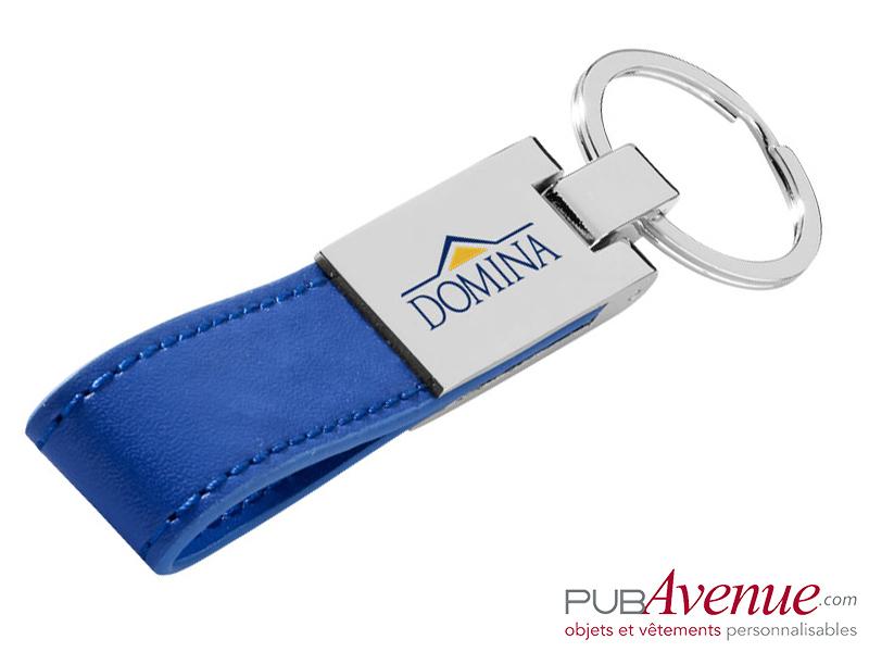 Porte-clés cuir personnalisé plaque métal