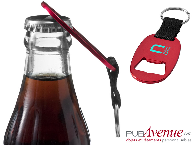 Porte-clés publicitaire ouvre-bouteilles