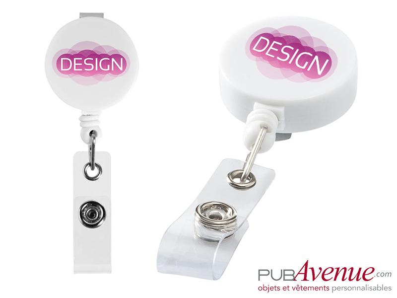 Porte badge personnalisé clip enrouleur