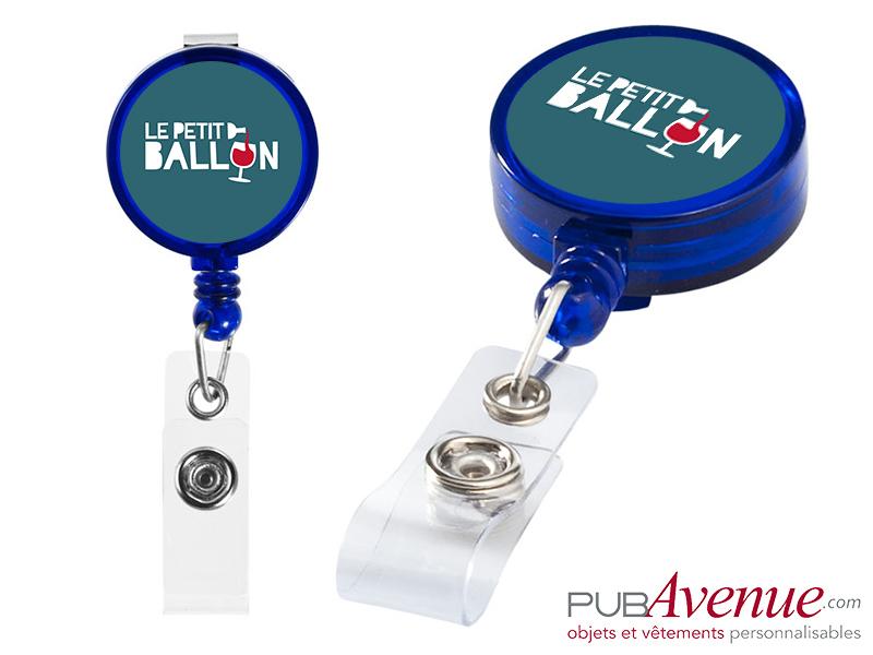 Porte badge personnalisable clip enrouleur