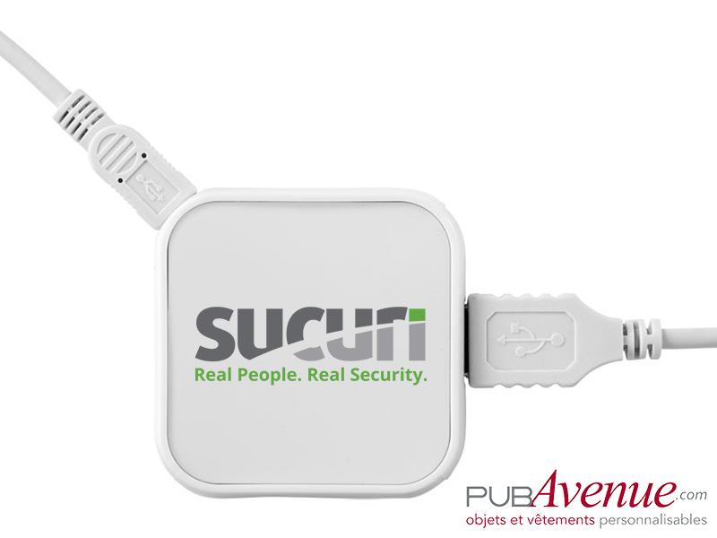 Hub carré 4 ports USB personnalisé