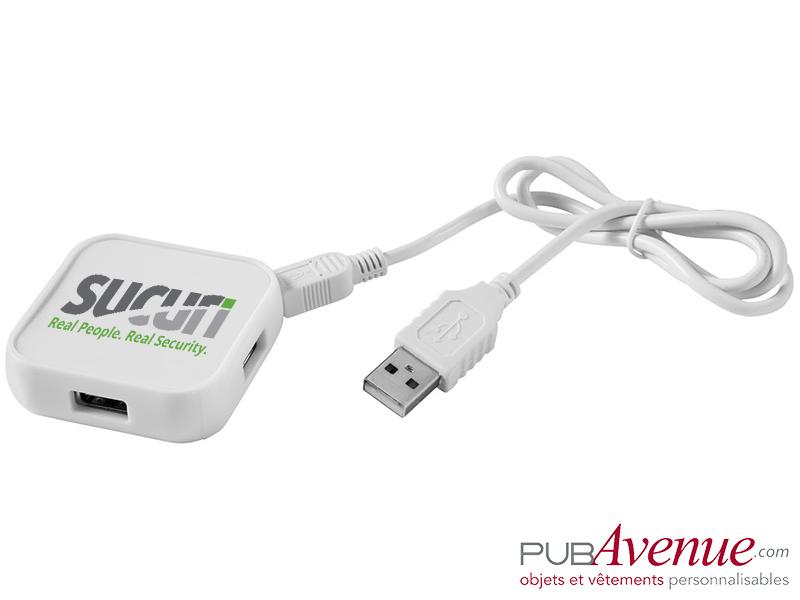 Hub carré 4 ports USB publicitaire