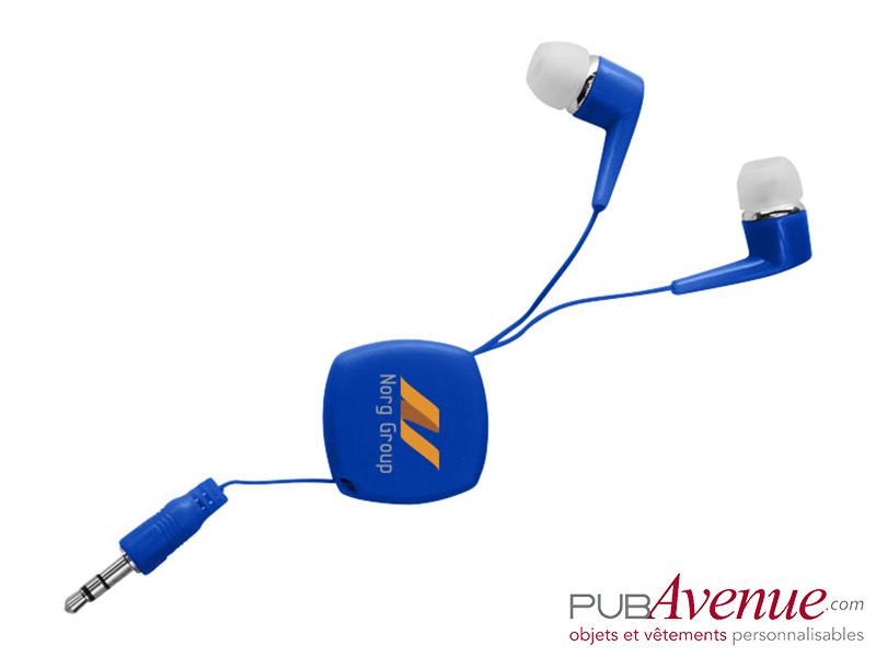 Écouteurs rétractables audio publicitaires