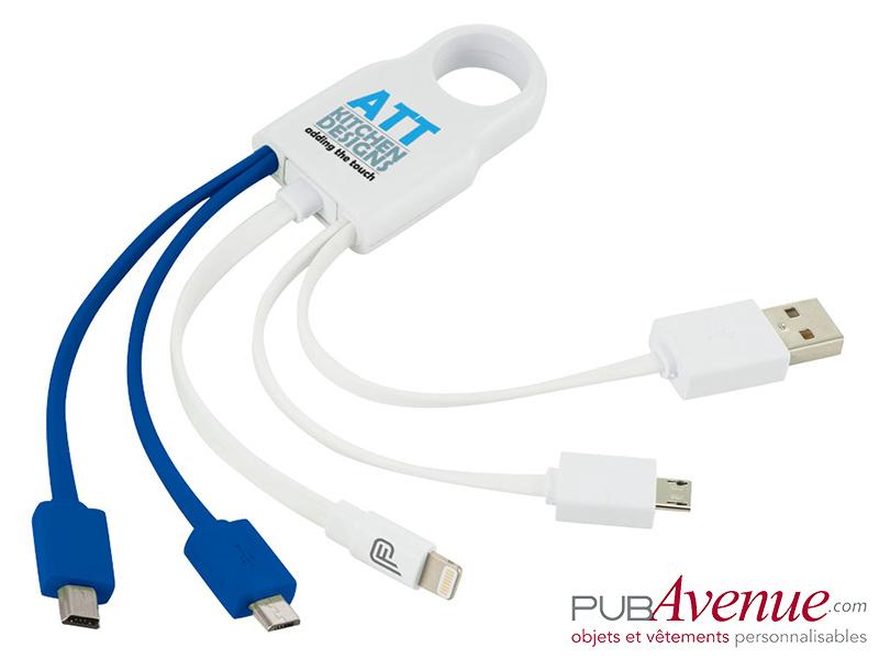 Câble chargement 4 en 1 personnalisé