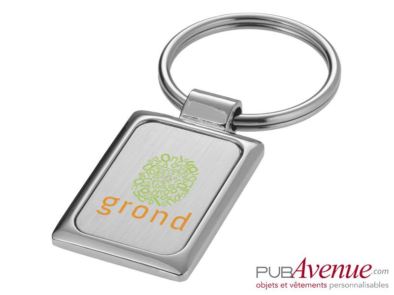 Porte-clés publicitaire métal rectangulaire