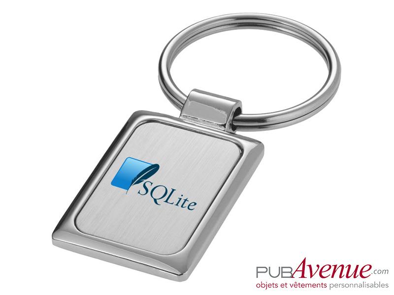 Porte-clés personnalisable métal rectangulaire