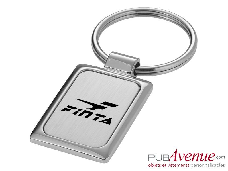 Porte-clés métal rectangulaire personnalisé