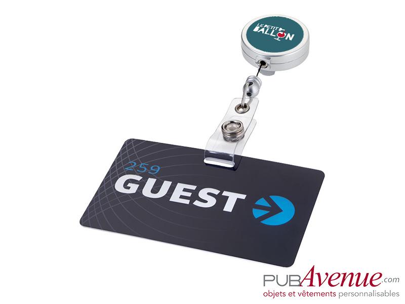Porte badge clip publicitaire enrouleur