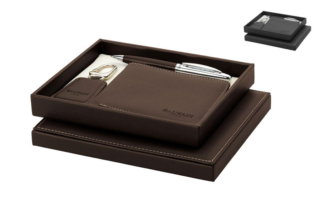 parure stylo porte cl et portefeuille balmain pour cadeau d 39 affaires. Black Bedroom Furniture Sets. Home Design Ideas