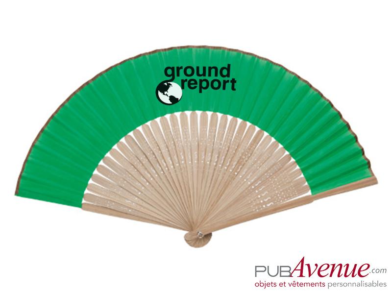 Éventail publicitaire bambou