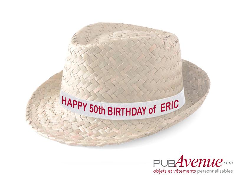 Chapeau paille personnalisé anniversaire