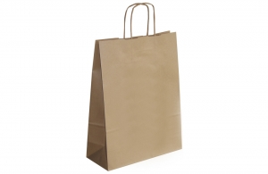 Sac shopping en papier kraft havane 32 x 42 cm