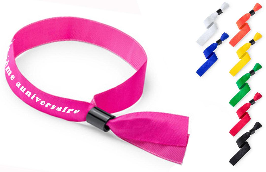 Bracelet tissus personnalisé anniversaire cadeau invités
