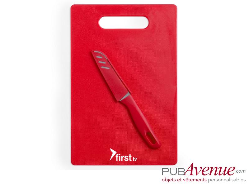 Planche cuisine personnalisée avec couteau