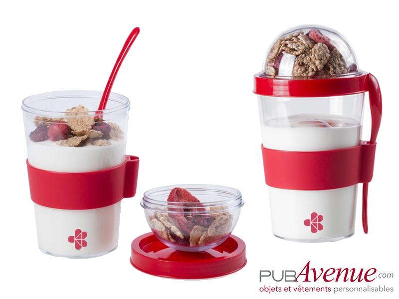 Pot à yaourt transport céréales personnalisable