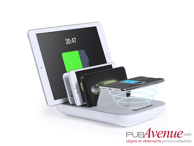Chargeur induction multi ports USB publicitaire