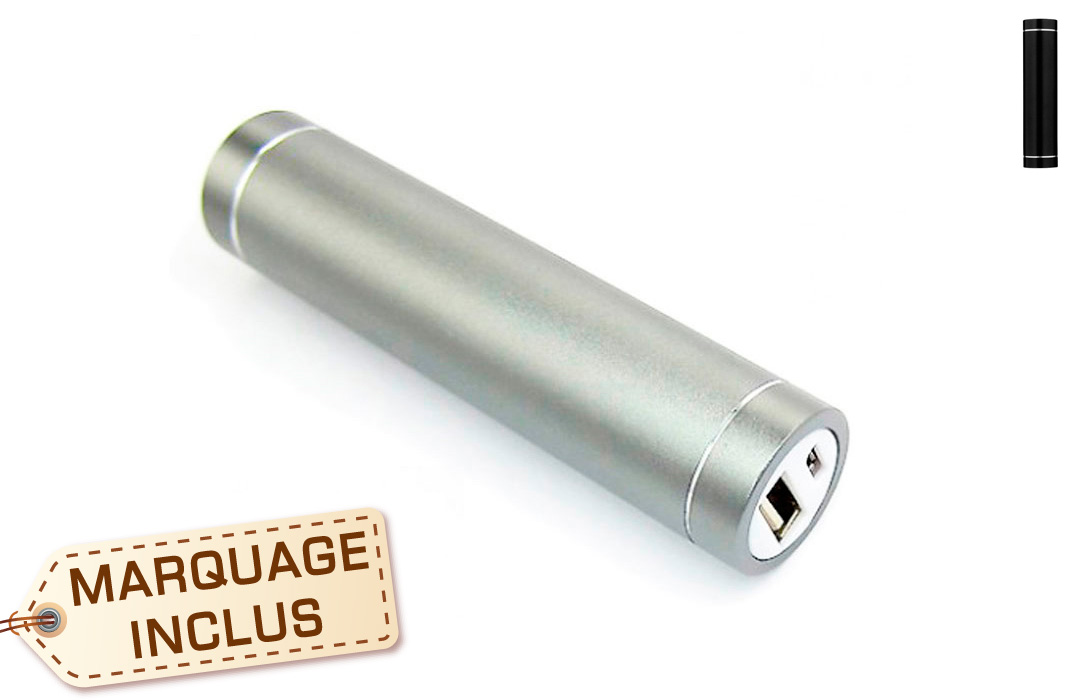 Power bank publicitaire cylindrique 2600 mAh
