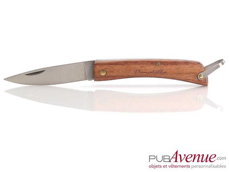 Couteau pliable publicitaire en bois