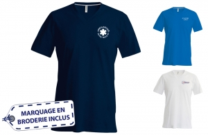 T-shirt ambulancier homme col V