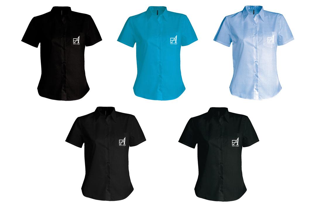 chemise femme personnalis e pour artisan entreprise logo. Black Bedroom Furniture Sets. Home Design Ideas
