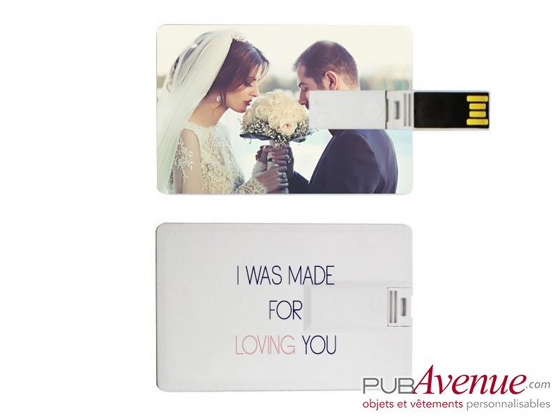 Clé USB personnalisable mariage bois