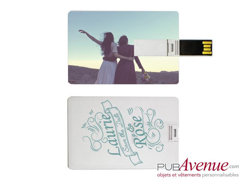 Clé USB mariage bois personnalisée