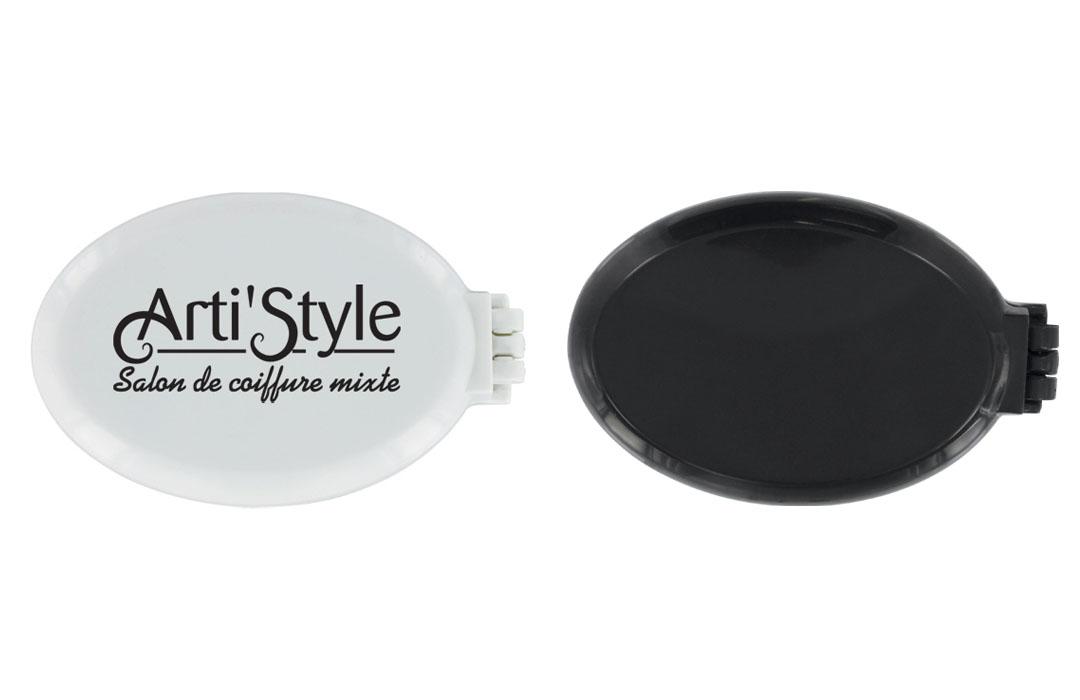 brosse pliable de poche avec miroir publicitaire personnalis pas cher. Black Bedroom Furniture Sets. Home Design Ideas
