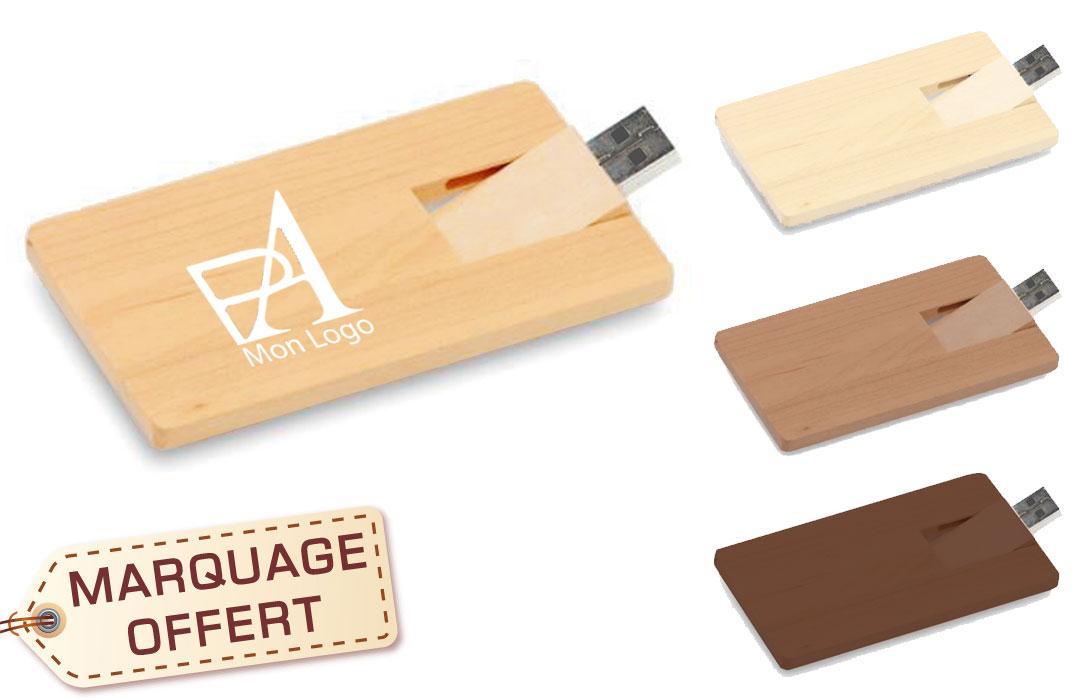 af6b32eb7976f ... Carte clé USB en bois naturel recyclé écologique publicitaire  personnalisé pas cher