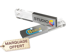 9e0d8b162bedc ... Clé USB cristal verre et métal alu publicitaire personnalisée pas chère