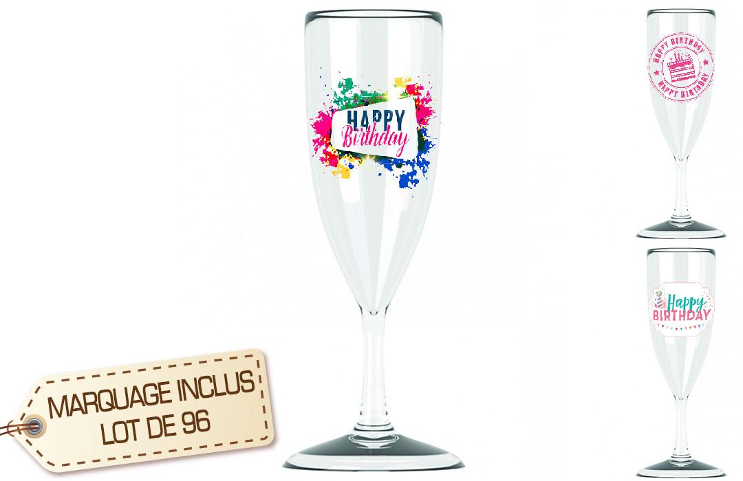 Lot 96 Flutes à Champagne Personnalisé Réutilisable
