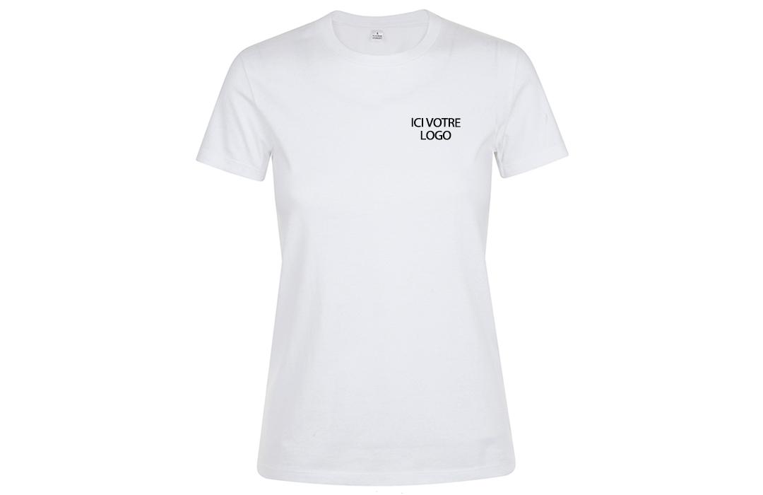 tee shirt publicitaire personnalis femme blanc flocage logo pas cher. Black Bedroom Furniture Sets. Home Design Ideas