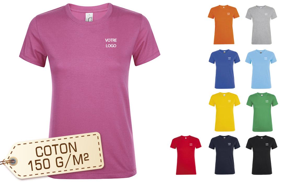 f650616b123 Tee shirt publicitaire personnalisé femme couleur flocage logo pas cher