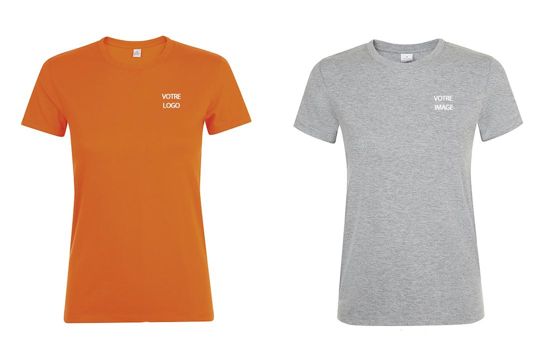 tee shirt publicitaire personnalis femme couleur flocage logo pas cher. Black Bedroom Furniture Sets. Home Design Ideas
