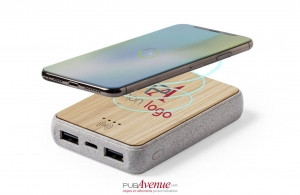 Batterie externe par induction powerbank plat bois 5000 mAh