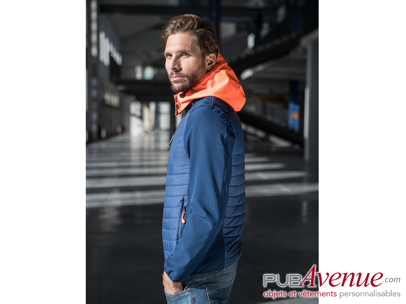 Softshell homme publicitaire capuche colorée