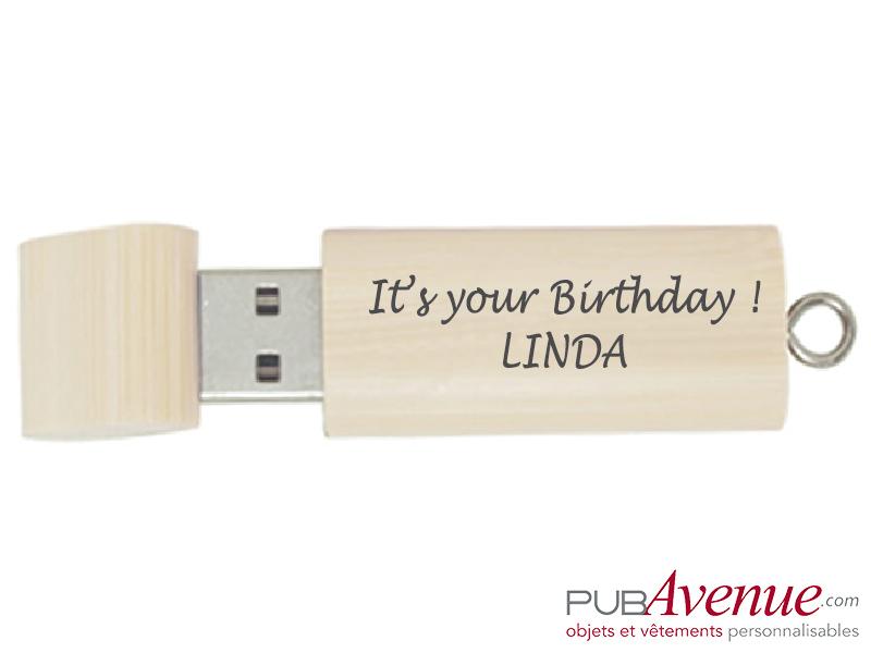 Clé USB personnalisée anniversaire bois