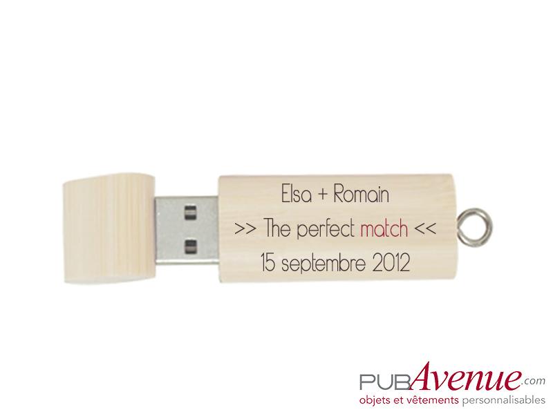 Clé USB mariage bois personnalisable